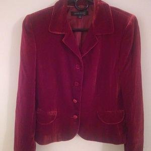 Anne Klein Suit Red Velvet Blazer Jacket Size 10